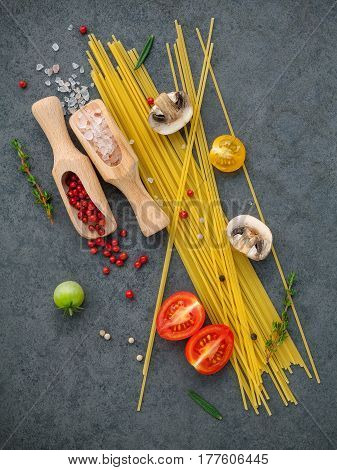 Italian Food Concept. Spaghetti With Ingredients Sweet Basil ,tomato ,garlic Peppercorn ,champignon,