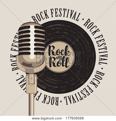banner with a vinyl record microphone inscription rock-n-roll and the words rock festival written around
