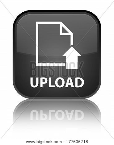 Upload (document Icon) Special Black Square Button