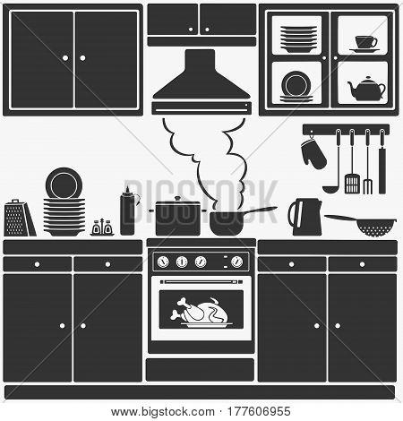Kitchen Furniture Vector Illustration eps 8 file Format