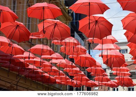 Group of red umbrella attached to wires as decoration on street