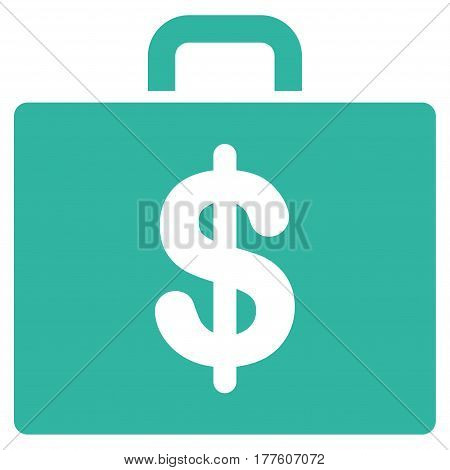 Accounting Case vector icon. Flat cyan symbol. Pictogram is isolated on a white background. Designed for web and software interfaces.