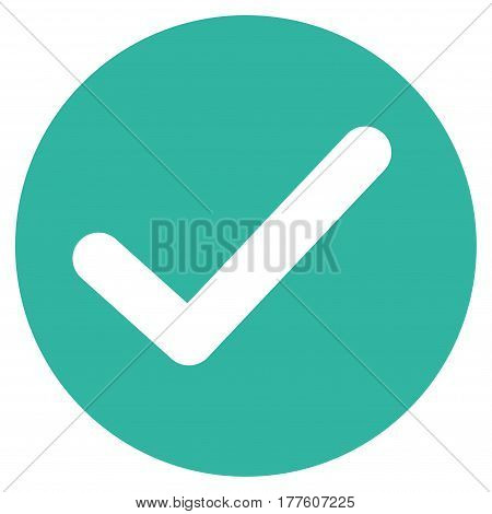 Apply vector icon. Flat cyan symbol. Pictogram is isolated on a white background. Designed for web and software interfaces.