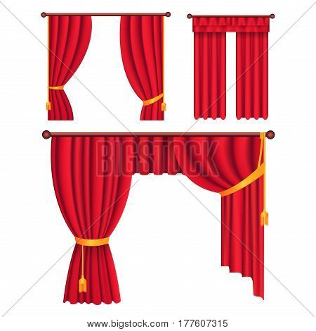 Heavy drapes of red fabric with gold tie back ribbon, tassels and lambrequin isolated vectors set.    Classic victorian curtains on cornice illustration for window dressing and interior design concept