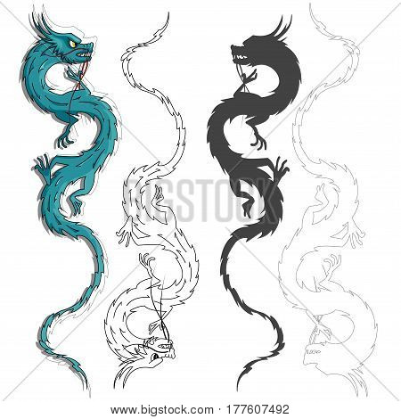 The Chinese dragon - color on white background . Vector illustration of twisted fire-spewing animal with tail, four claws and open mouth