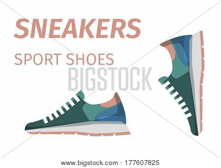 Trendy colorful sneakers for running. Sport shoes advertisement signboard isolated on white background. Comfortable footwear for athletics and casual look. Women footwear vector illustration.