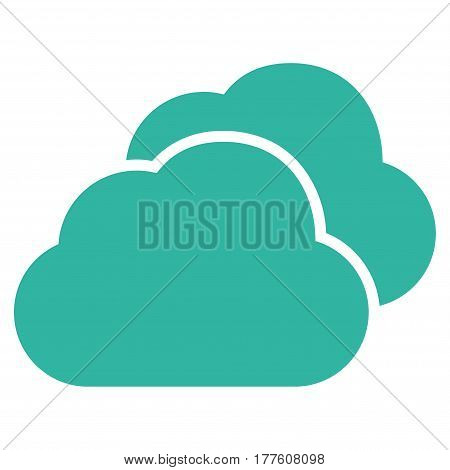 Clouds vector icon. Flat cyan symbol. Pictogram is isolated on a white background. Designed for web and software interfaces.