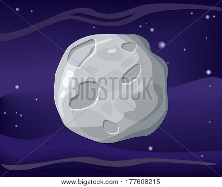 Moon satellite in space star background. Element of solar system. Cosmic galaxy background with bright shining stars. Solar system. Isolated planet. Gray planet. Vector illustration.