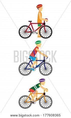 Bicyclists people on bikes or near bike. Cyclists set in flat. Bicyclists men in sports uniforms and bike helmets. Character design. Sport and healthy. Young racing bicyclist on white background