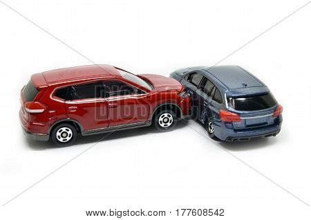 Cars accident crash isolated on white background
