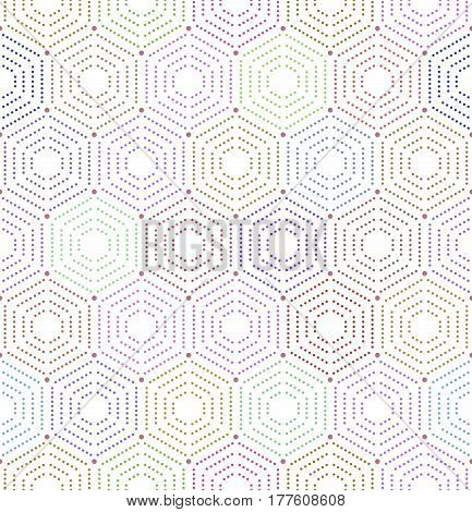 Geometric repeating colorful ornament with hexagonal dotted elements. Seamless abstract modern pattern