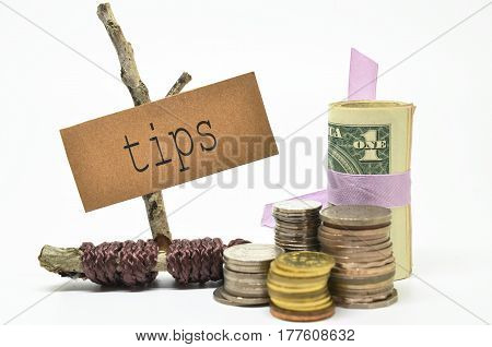 Coins And Money With Tips Label