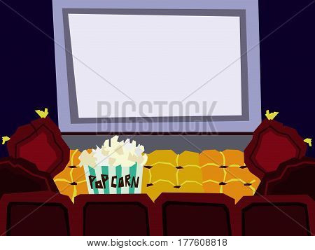 Cartoon Flat cinema hall interior vector illustration. A set of furniture. Design room watching a movie.