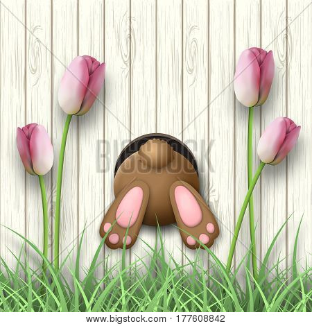 Easter motive, brown bunny bottom, pink tulips and fresh grass on white wooden background, vector illustration, eps 10 with transparency and gradient meshes