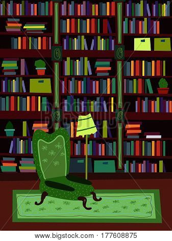 Cartoon Flat interior library room vector illustration. A set of furniture. The design of the room for reading and peace of mind.