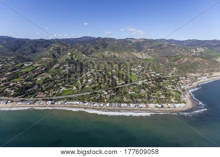 Aerial view of Malibu beaches, homes and the Santa Monica Mountains in Southern California.