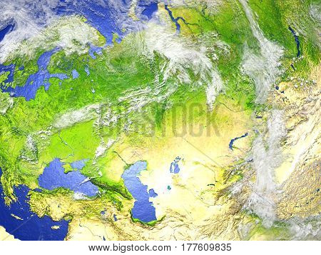 Western And Central Asia On Realistic Model Of Earth