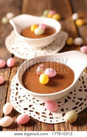 chocolate mousse with candy egg for easter