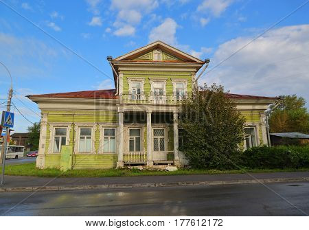 Old wooden ornate house in Vologda, Russia
