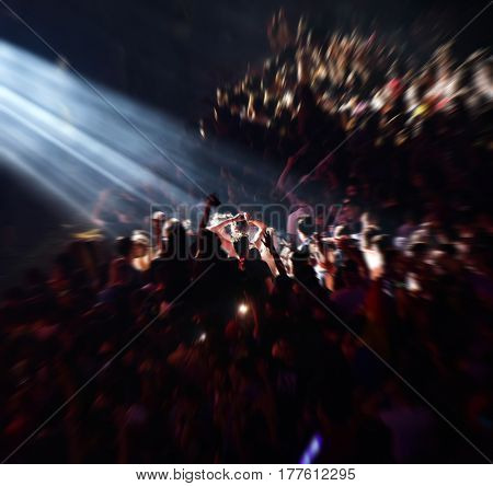 Zoom In Effect On A Blurred Crowd