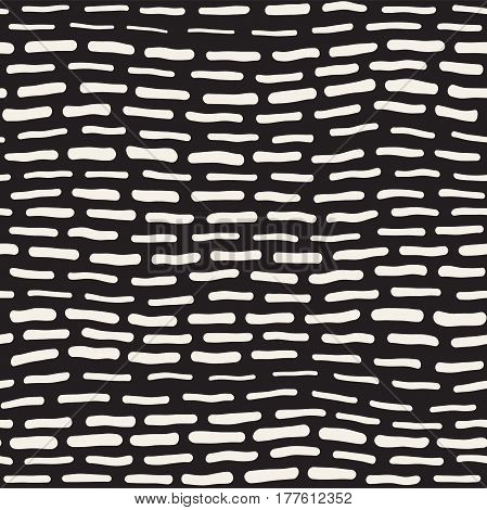 Abstract Background With Rounded brush strokes. Monochrome Hand Drawn Texture With Wavy Lines. Doodle Vector Seamless Pattern.
