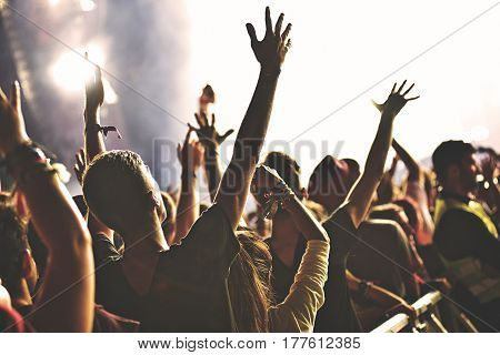 Rear View Of Crowd Enjoying Concert