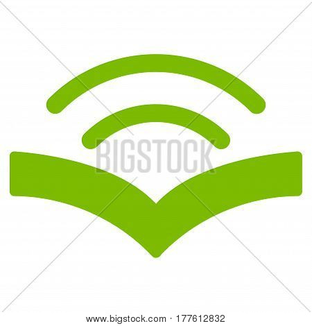 Audiobook vector icon. Flat eco green symbol. Pictogram is isolated on a white background. Designed for web and software interfaces.