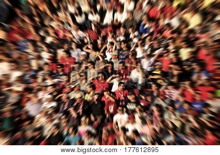 Abstract Blur Background Of Crowd Of People