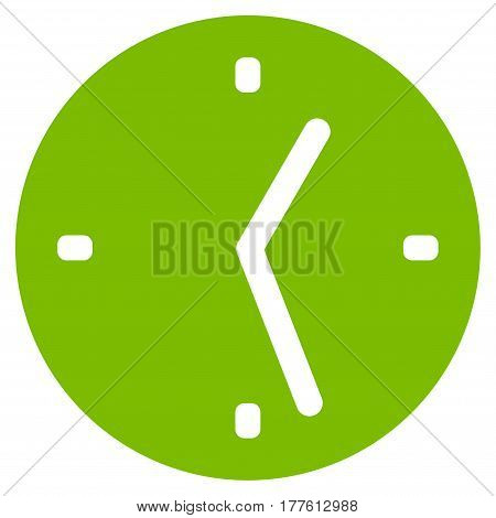 Clock vector icon. Flat eco green symbol. Pictogram is isolated on a white background. Designed for web and software interfaces.