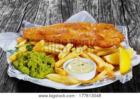 Delicious Crispy Fish And Chips, Close-up