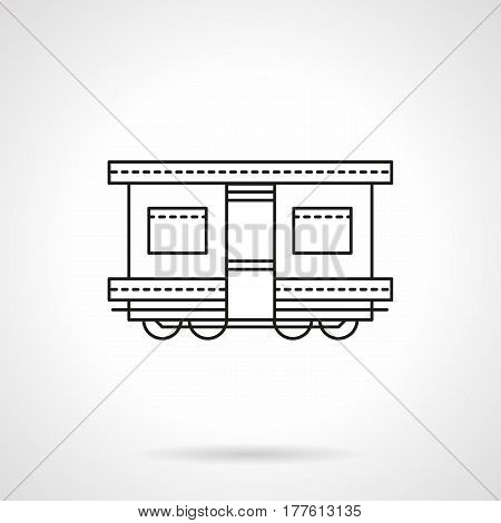 Symbol of railroad transport. Rail train wagon for different transportation. Flat black line vector icon.