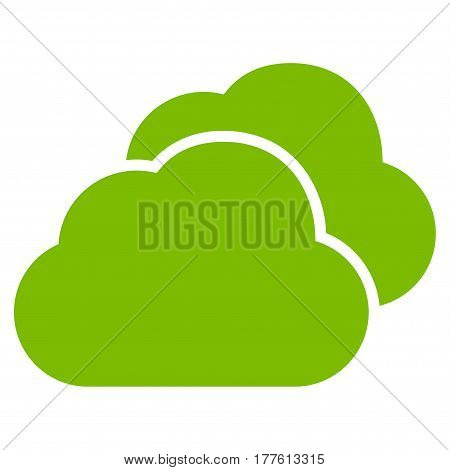 Clouds vector icon. Flat eco green symbol. Pictogram is isolated on a white background. Designed for web and software interfaces.