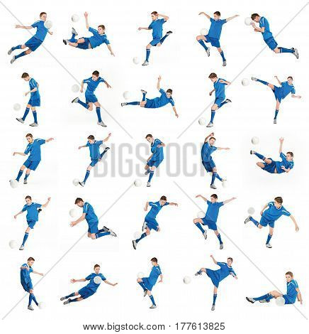 Young boy with soccer ball doing flying kick. Collage
