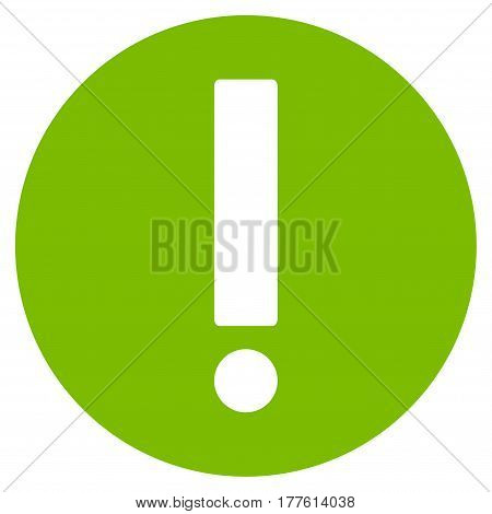 Exclamation vector icon. Flat eco green symbol. Pictogram is isolated on a white background. Designed for web and software interfaces.