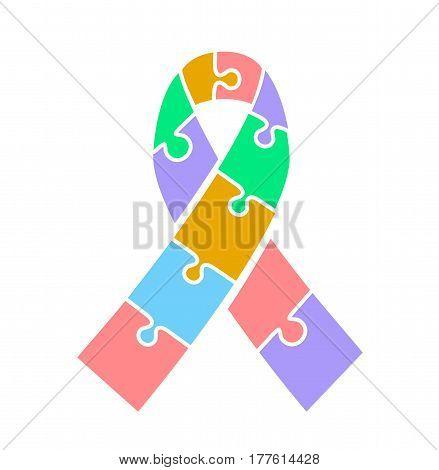 Icon Ribbon  On Autism Awareness Day.