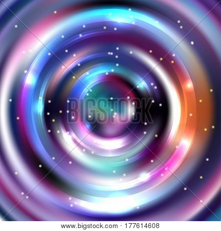 Vector round frame. Shining circle banner. Vector design. Glowing spiral. Black, purple, white colors.