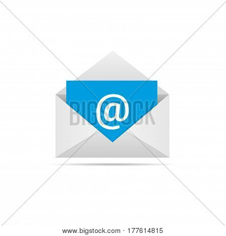 White Envelope with blue email letter. Communication symbol, Vector illustration