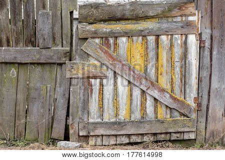Background and texture. Old invoice with a gate.