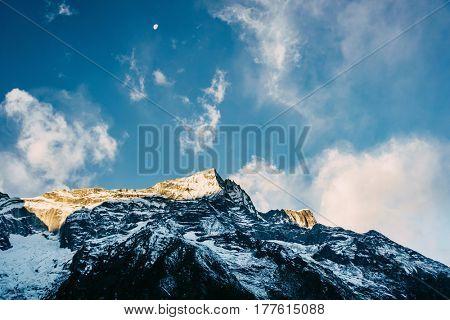 Kondge Ri mountain in the Himalayas near Namche Bazaar, Nepal poster