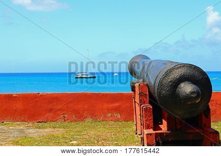 Cannon at Fort Frederik in Frederiksted on St. Croix, in the USVI