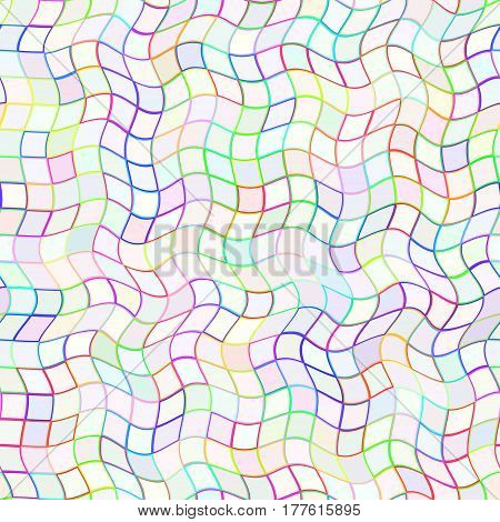 Abstract colorful wavy tile pattern, Multicolor wave tiled texture background, Simple checked seamless illustration