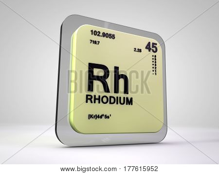 Rhodium - Rh - chemical element periodic table 3d render