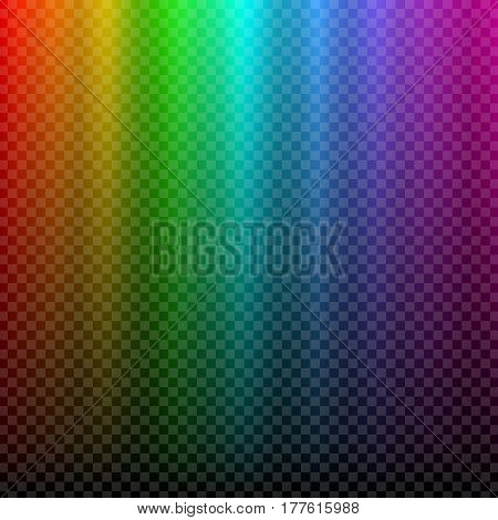 Colorful glowing rainbow light. Aurora Borealis polar effect. Transparent graphic design element for flyer, poster, book cover, card and invitation. Abstract glowing background. Vector illustration.