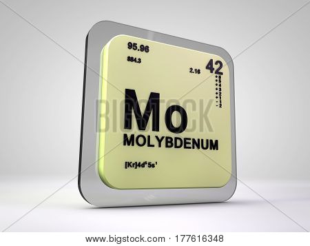 Molybdenum - Mo - chemical element periodic table 3d render