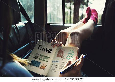 Planning traveling trip notes wanderkust