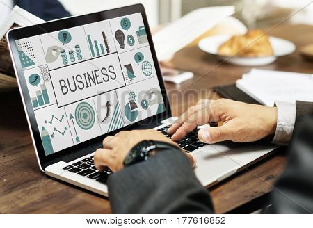 Illustration of financial marketing business plan on laptop