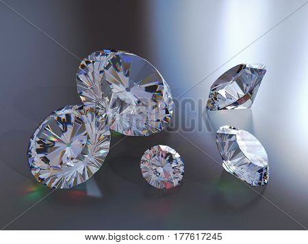 Illustration of luxury diamonds on gradient backgrounds. Shiny crystals. 3d render.
