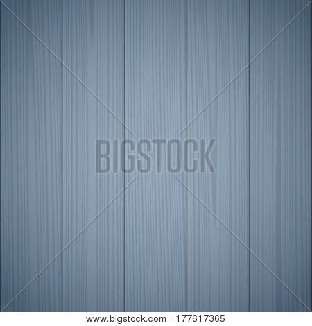 Dark blue wood texture background. Wooden surface, grained table, floor. Graphic design element for scrapbooking, presentation, web page background. Realistic vector illustration.