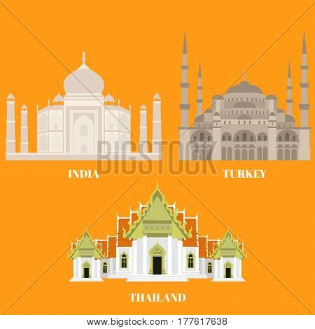Thailand, Turkey and India travel icons. Country sightseeing symbols, Eastern and Asian landmarks. Flat architecture.