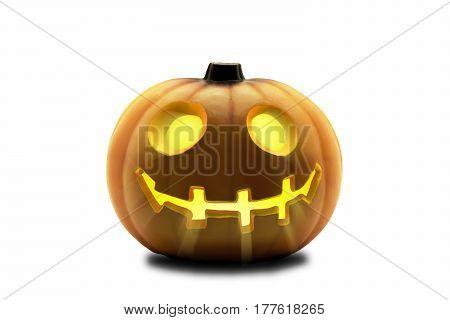 Funny Jack O Lantern halloween pumpkin. Isolated on white background